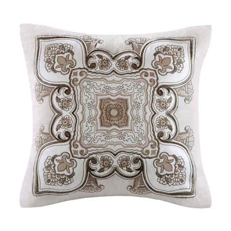 Odyssey Cotton Damask and Floral Motif Decorative Pillow