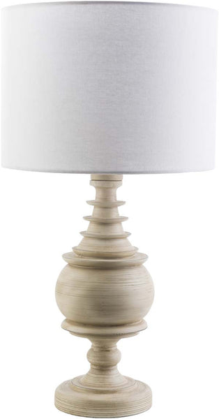 Drum Antique White Acacia Table Lamp