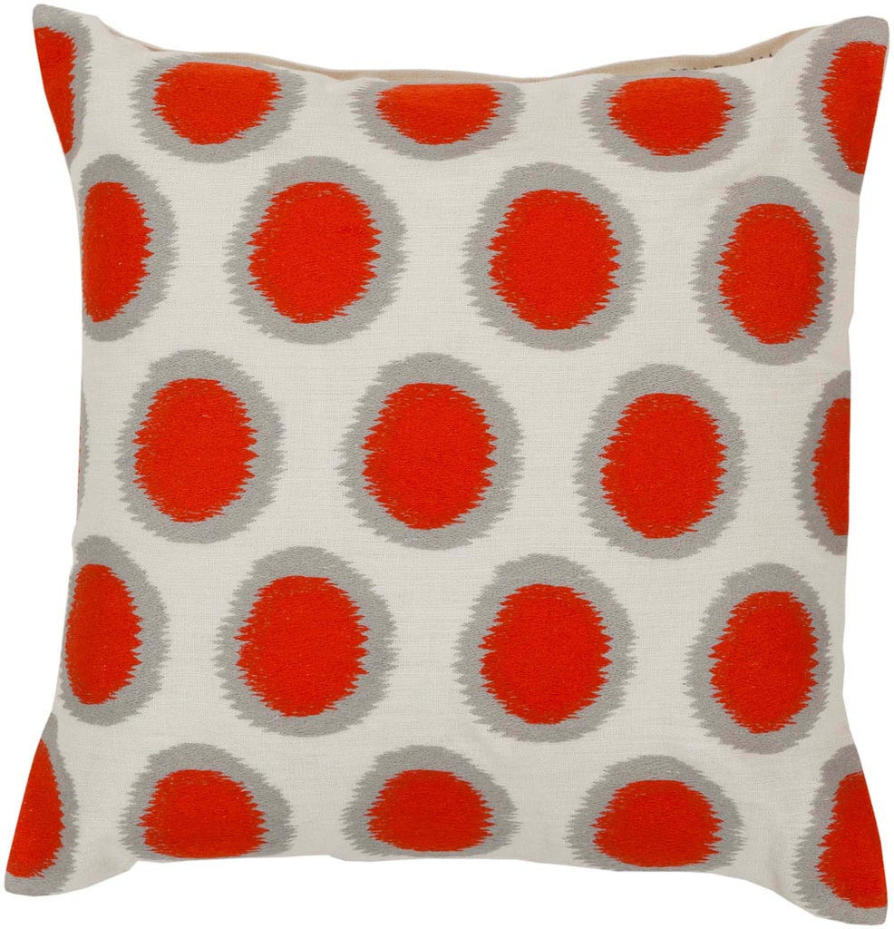 Ikat Dots decorative pillows in Orange, Neutral
