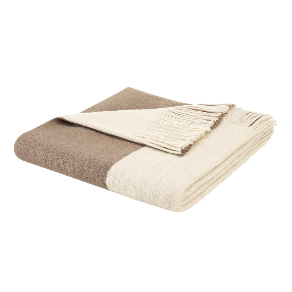 Stockholm  Acrylic Color Block Faux Cashmere Throw, Taupe