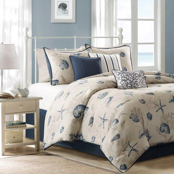 JLA Madison Park Bayside Cotton Comforter Set in Blue