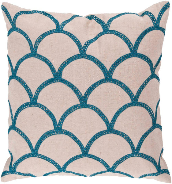 Surya Meadow Overlapping Oval Pillow,  Neutral, Blue, Green