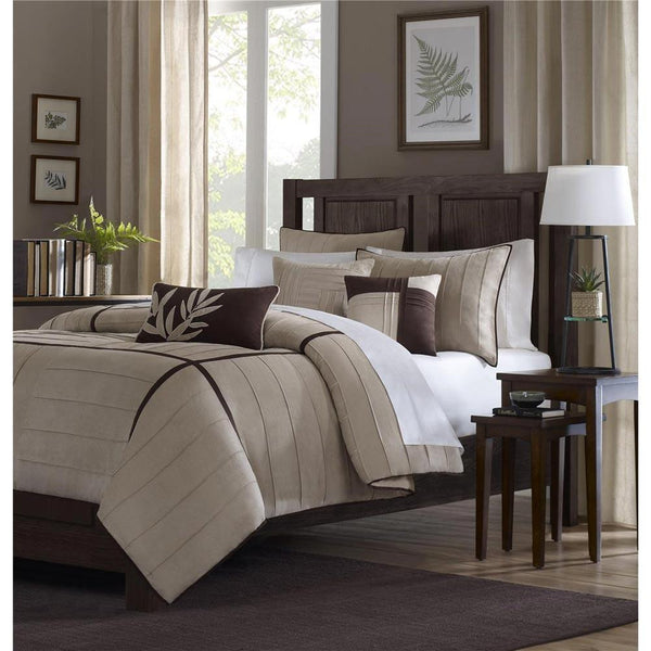 Dune Polyester Micro Suede Pieced Solid 7 Pieces Set - Bedding | Madison Park