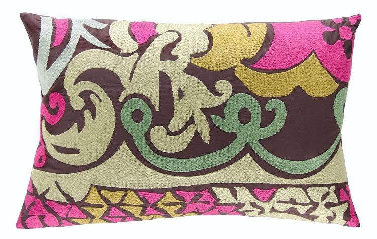 Koko Company Earth Embroidered Eurosham Cotton 13 by 20 inches Pillow, Green, Pink, Mustard