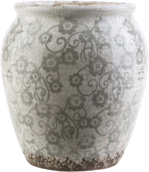 Flora Contemporary Gray, Ivory, Taupe Color Table Vase  small