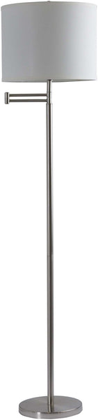 Modified Drum Brushed Nickel Finn Floor Lamp