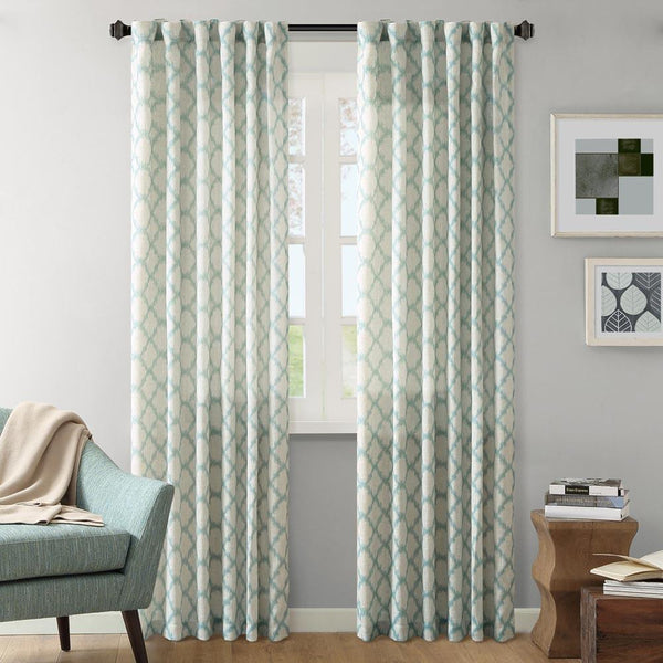 Ink Ivy Nakita Linen Printed Window Panel, Aqua