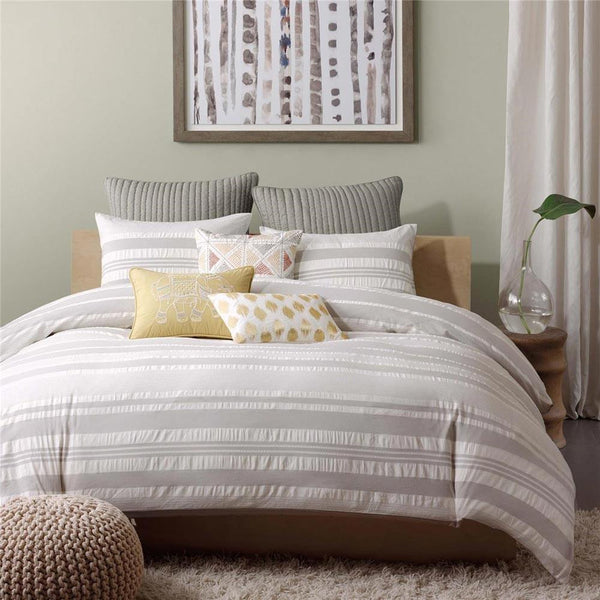 Lakeside Cotton Printed Yarn Dye Duvet Set - Bedding | Ink Ivy