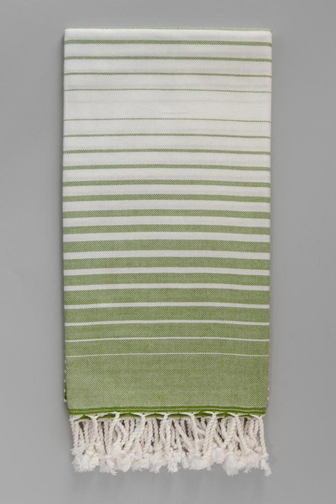 Illusion Collection Turkish Beach and Bath Towels in White Base - Green