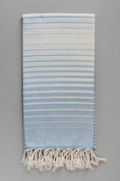Illusion Collection Turkish Beach and Bath Towels in White Base - Baby Blue