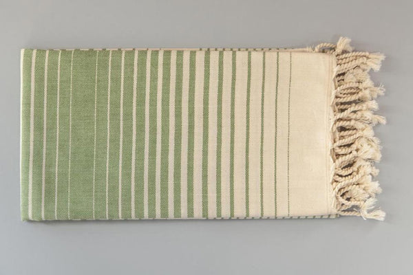 Illusion Collection Turkish Beach and Bath Towels in Ecru Base - Green