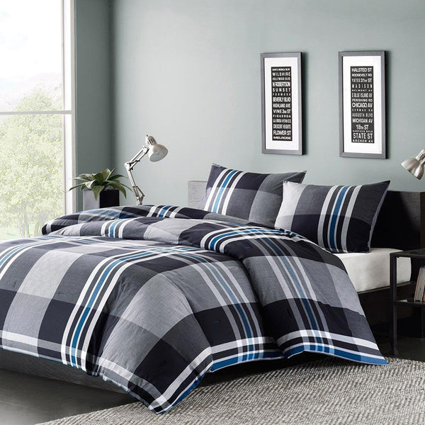 Nathan Cotton Yarn Dyed Comforter Mini Set - Bedding | Ink Ivy