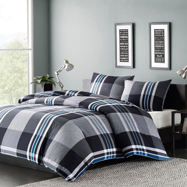 Nathan Cotton Yarn Dyed Duvet Mini Set - Bedding | Ink Ivy