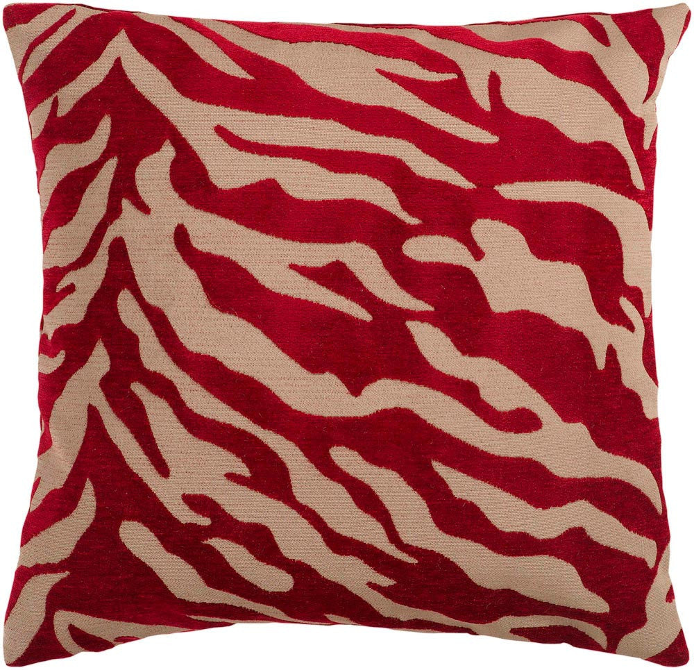 Velvet Zebra decorative pillows in Brown, Red