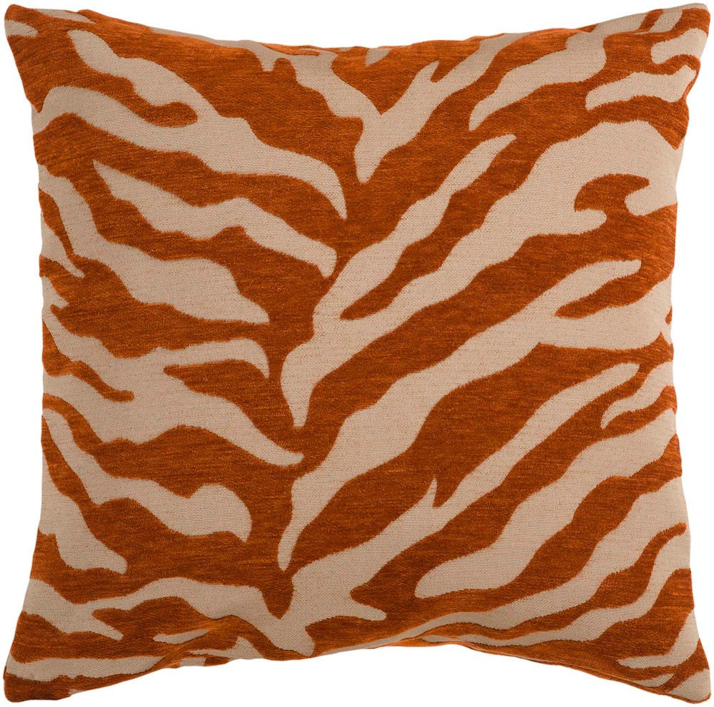 Velvet Zebra decorative pillows in Brown, Orange