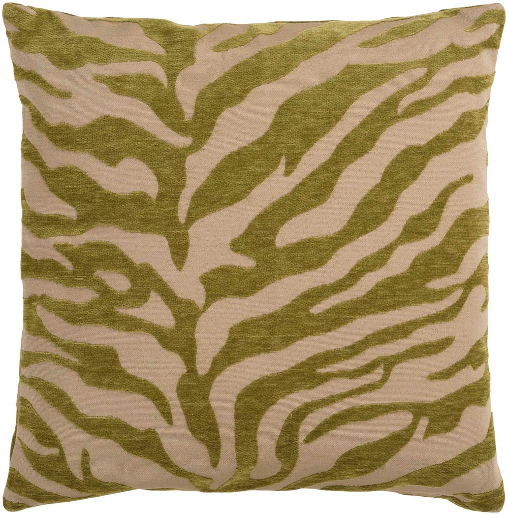 Velvet Zebra decorative pillows in Brown, Green