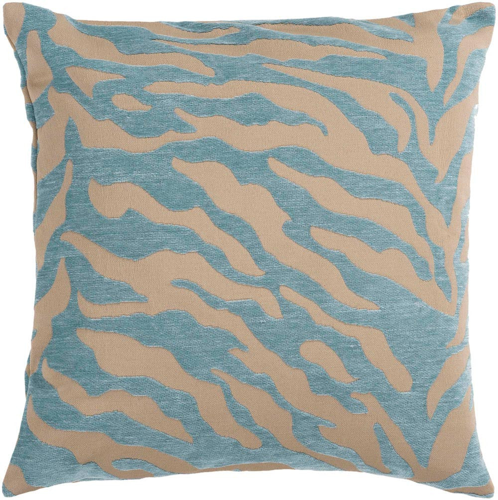 Velvet Zebra decorative pillows in Brown, Blue