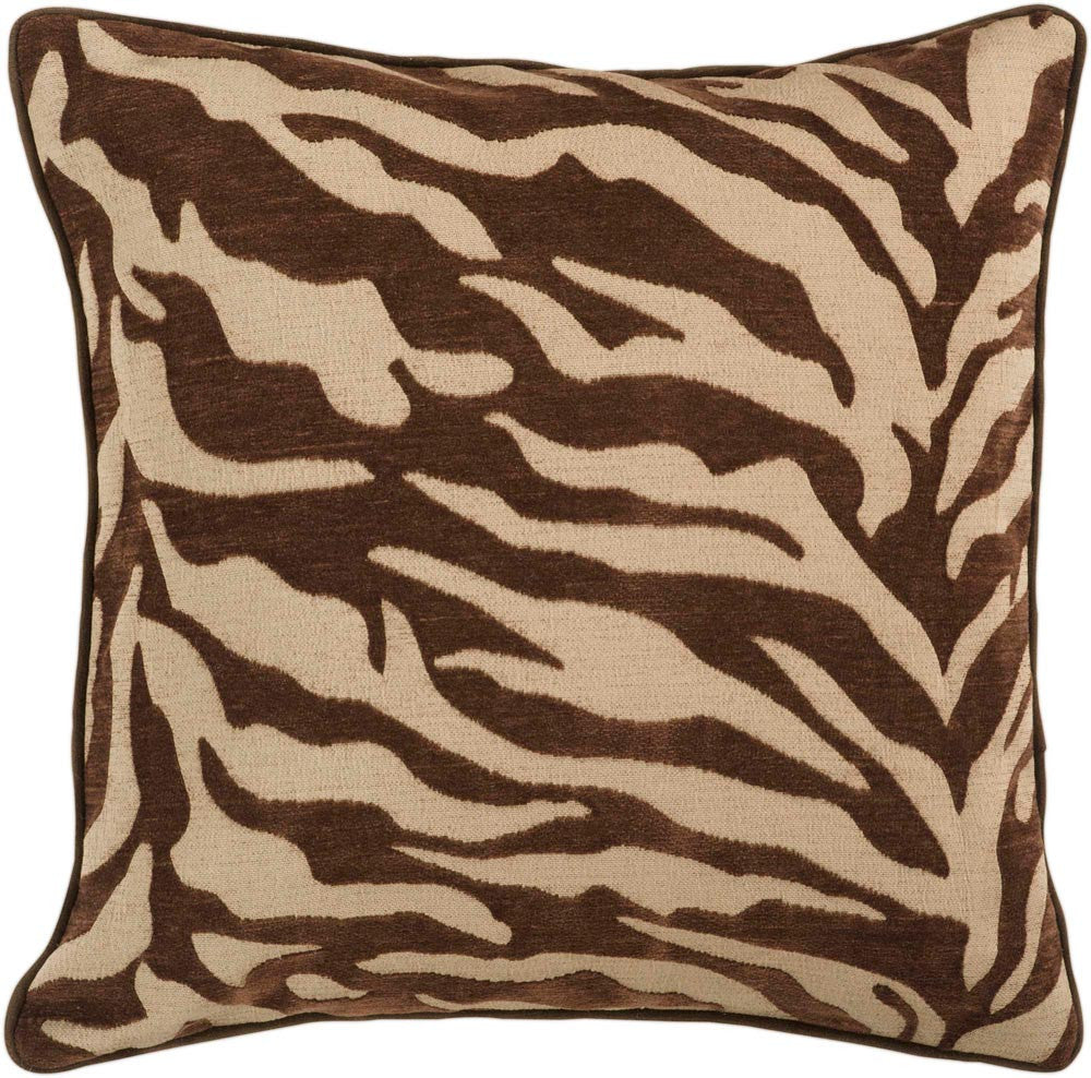 Velvet Zebra decorative pillows in Brown, Brown