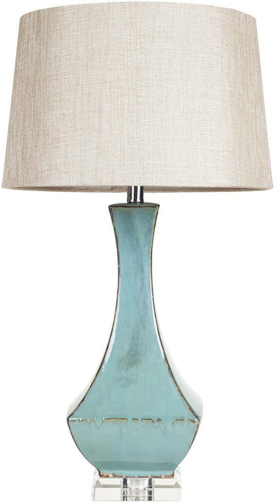 Modified Drum Turquoise Reactive Glaze Table Lamp