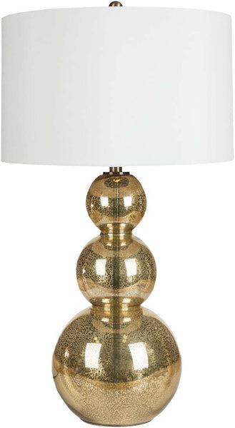 Modified Drum Goldtone Mercury Glass Table Lamp