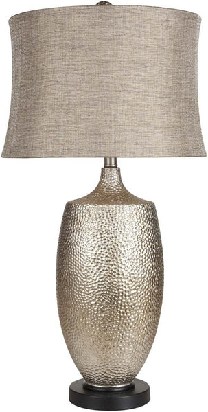 Retro Drum Hammered Silvertone Leaf Table Lamp