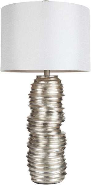 Modified Drum Aged Silvertone Leaf Table Lamp