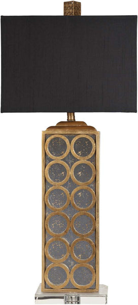 Retro Rectangle Goldtone Leaf And Aged Mirror Table Lamp
