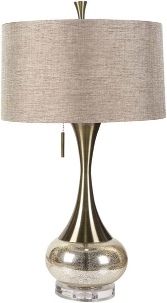 Modified Drum Aged Brass Mercury Glass Table Lamp