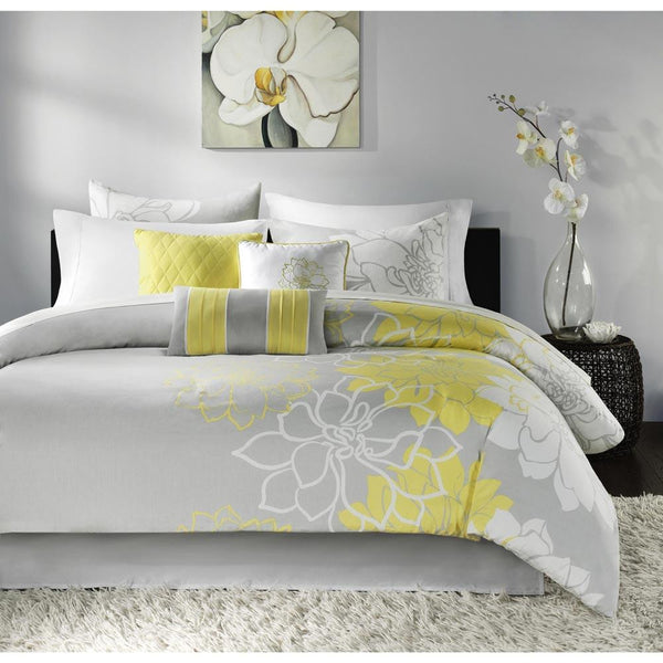 Lola Cotton Sateen Jacquard Printed 7 Pieces Set - Bedding | Madison Park