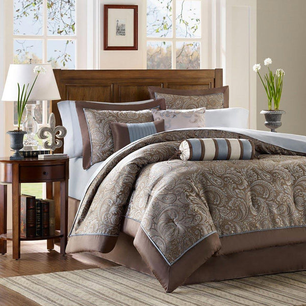 Aubrey Polyester Jacquard Duvet 6 Pieces Set  - Bedding | Madison Park