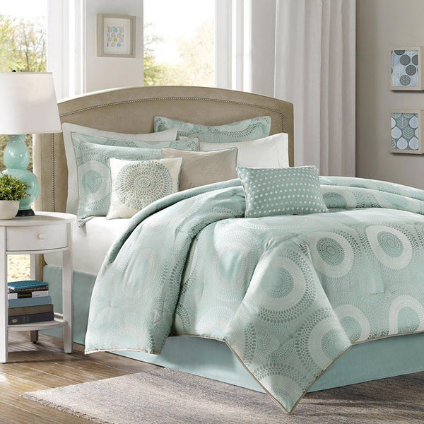 Baxter Polyester Jacquard 7 Pieces Comforter Set  - Bedding | Madison Park