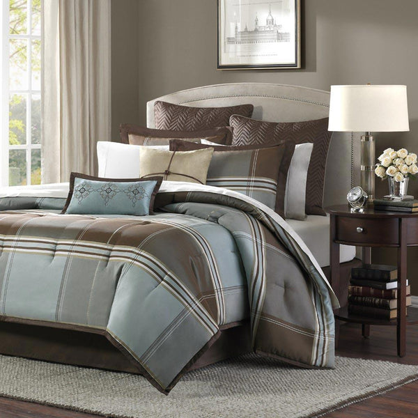 Lincoln Square Polyester Jacquard 8 Pieces Set - Bedding | Madison Park