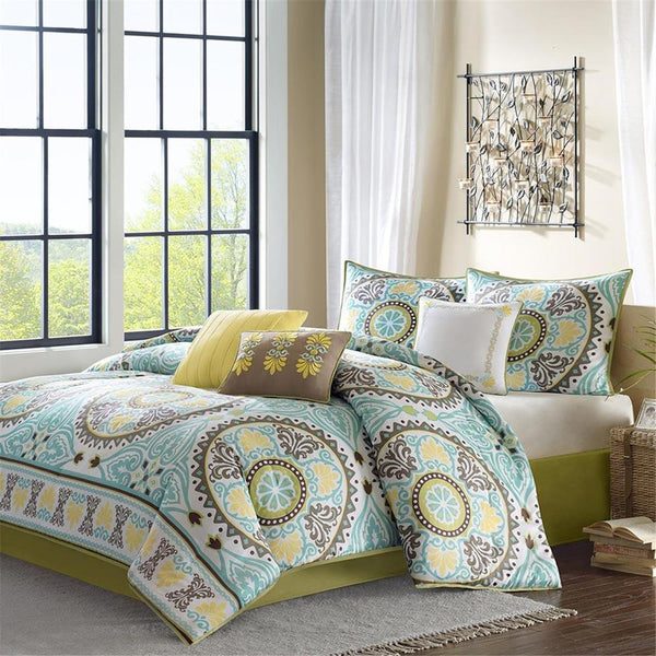Samara Cotton Printed 7 Pieces Comforter Set - Bedding | Madison Park