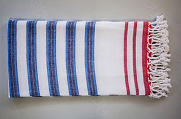 Muson Collection 2-In-1 Reversible Turkish Beach and Bath Towel - Royal/Red