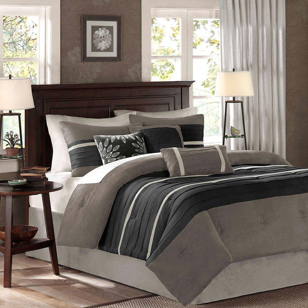 Palmer Polyester Micro Suede 7 Pieces Comforter Set - Bedding | Madison Park