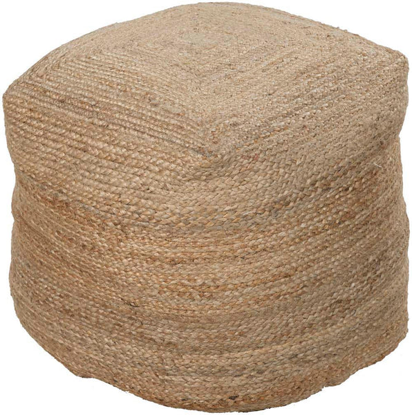 Surya Cylinder Hand Made Jute Pouf, 18 by 18 inches, Beige