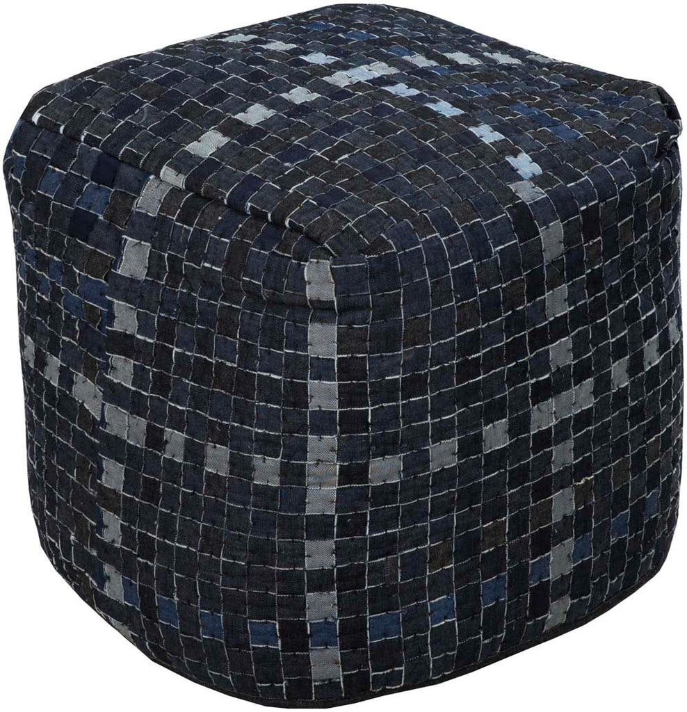 Surya Poufs Cube Cotton Pouf, 18 by 18 inches, Navy,Charcoal,Light Gray,Charcoal