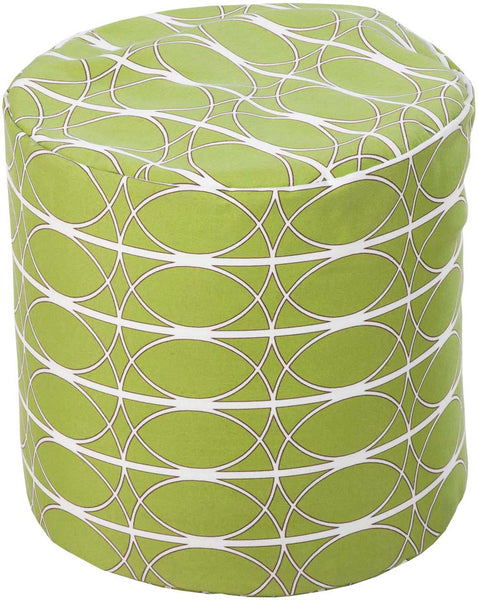 Surya Poufs Cube Polyester Pouf, 19 by 19 inches, Light Gray,Ivory,Olive