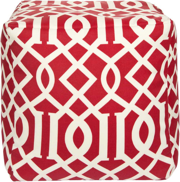 Surya Cube Hand Made Polyester Pouf, 18 by 18 inches, Cherry,Ivory