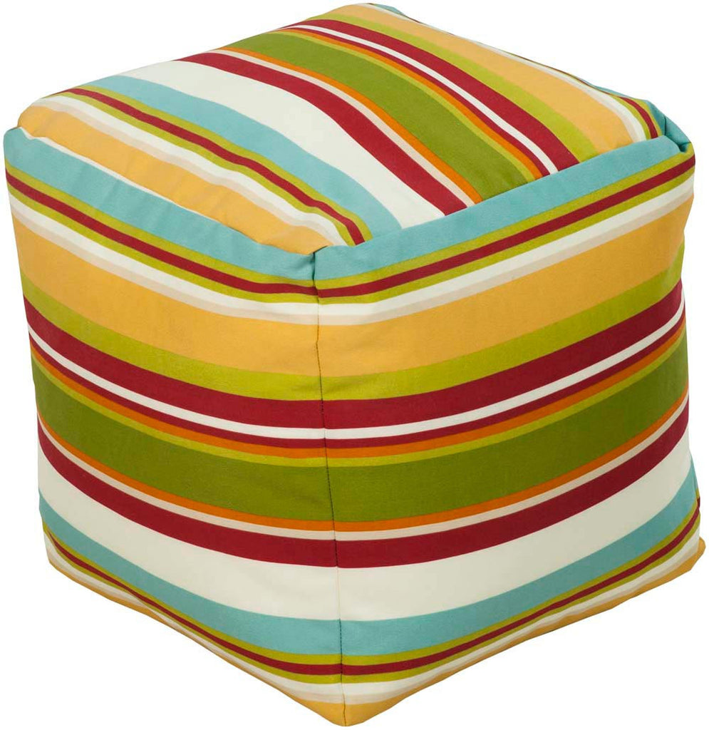 Surya Cube Hand Made Polyester Pouf, 18 by 18 inches, Sunflower,Lime,Cherry,Aqua,Ivory