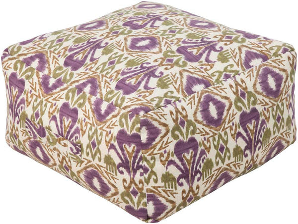Surya Poufs Cube Polyester Pouf, 24 by 24 inches, Eggplant,Olive,Beige,Olive