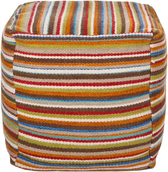 Surya Cube Hand Made Wool Pouf, 18 by 18 inches, Burnt Orange,Cherry,Tan,Light Gray,Gray