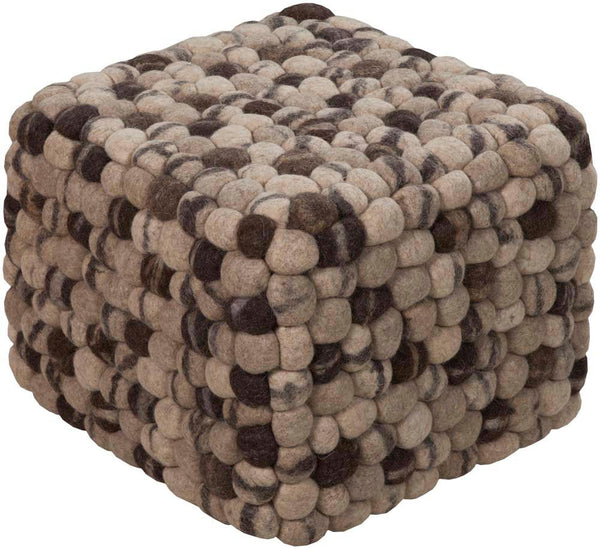 Surya Cube Hand Made Wool Pouf, 18 by 18 inches, Taupe,Beige,Light Gray