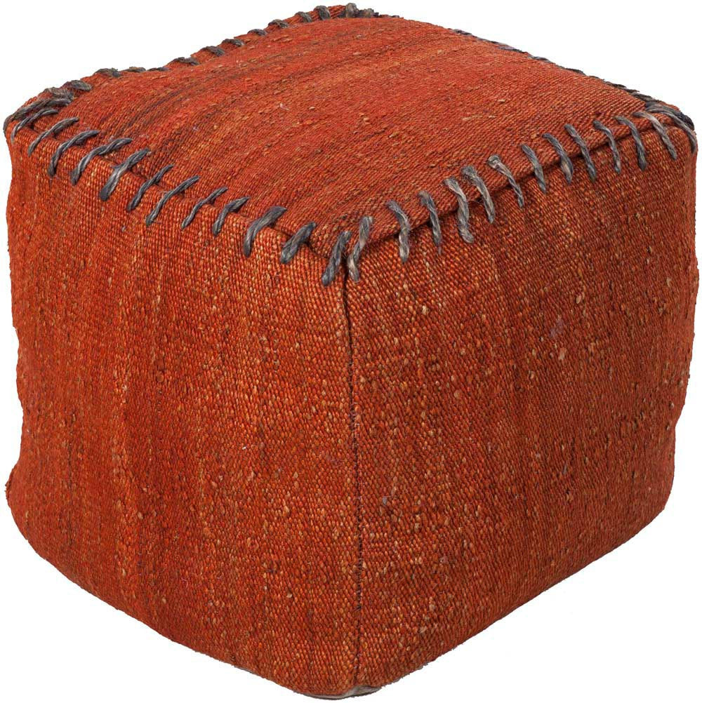 Surya Cube Hand Made Jute Pouf, 18 by 18 inches, Cherry,Olive