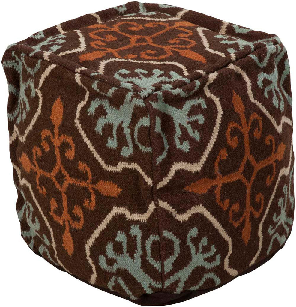 Surya Poufs Cube Wool Pouf, 18 by 18 inches, Chocolate,Tan,Moss,Beige