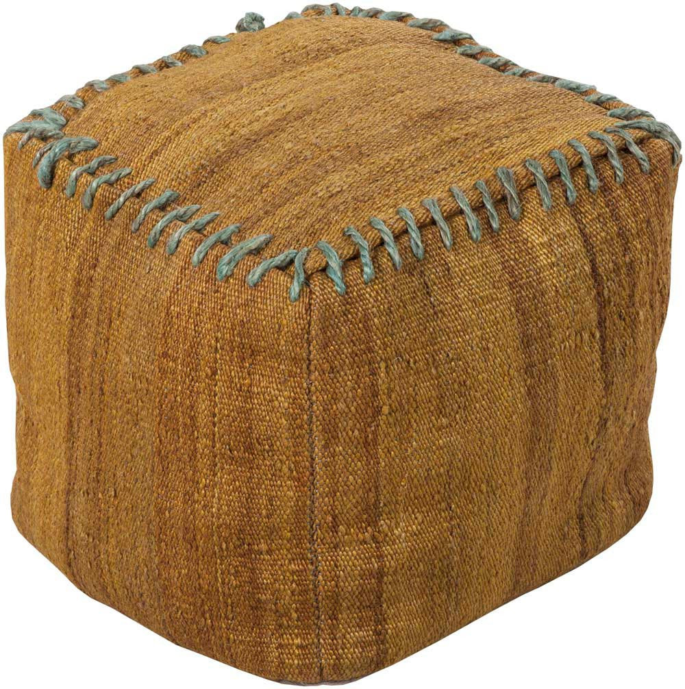Surya Cube Hand Made Jute Pouf, 18 by 18 inches, Gold,Gray