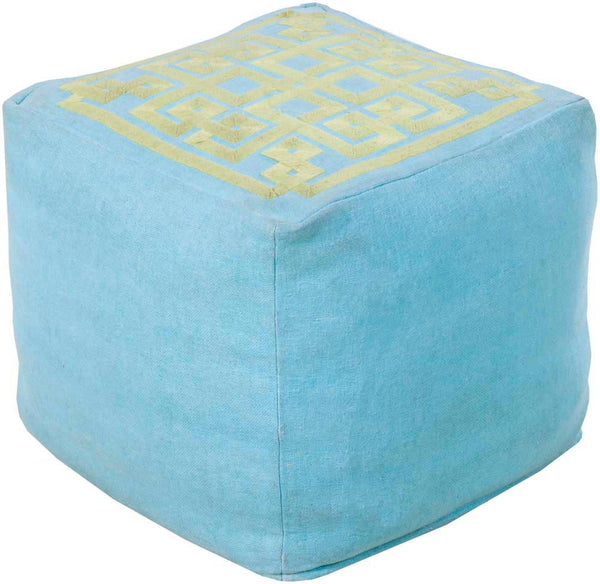 Beth Lacefield Surya Poufs Cube Linen, Others Pouf, 18 by 18 inches, Gray,Mint