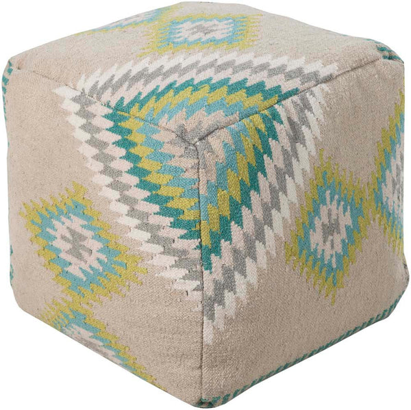 Beth Lacefield Surya Poufs Cube Wool Pouf, 18 by 18 inches, Beige,Teal,Lime,Beige,Light Gray