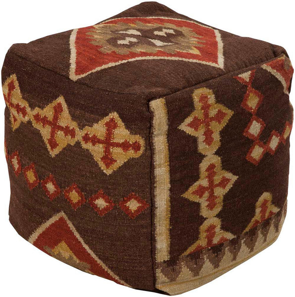 Surya Poufs Cube Hard Twist Wool Pouf, 18 by 18 inches, Chocolate,Burgundy,Gold,Mocha,Gold