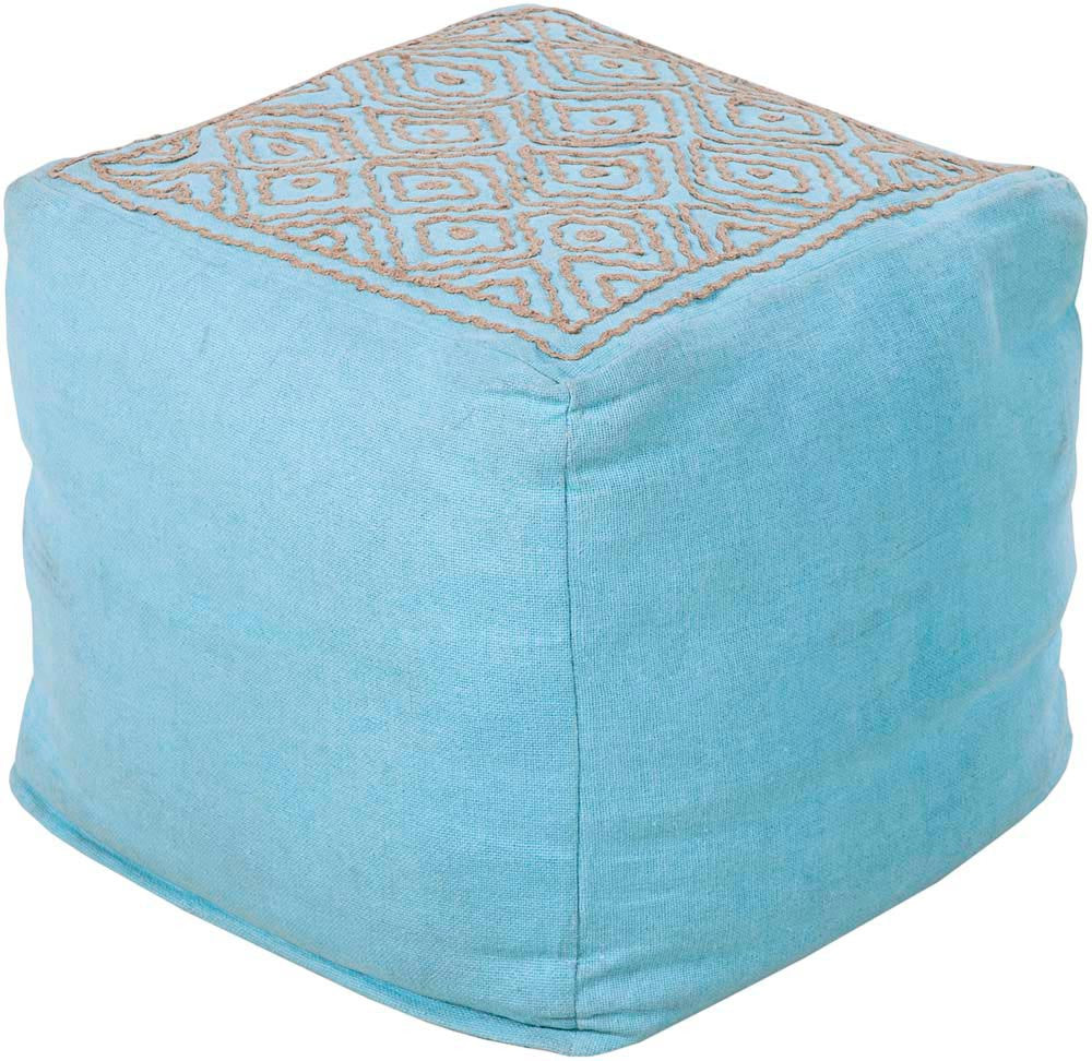 Beth Lacefield Surya Poufs Cube Linen, Others Pouf, 18 by 18 inches, Aqua,Taupe